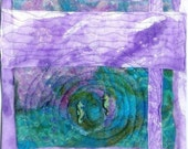 sea horse fiber art wall  in purple and blue