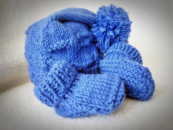 Hand knit baby pom pom hat and booties set in royal blue Lil