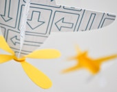 Baby Mobile, Airplanes in Yellow and Blue Arrow Pattern