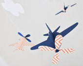Baby Mobile, Airplanes in Orange Chevron and Blue