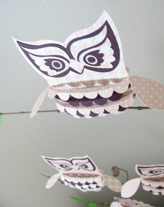 Baby Mobile, Owls in Pink and Purple