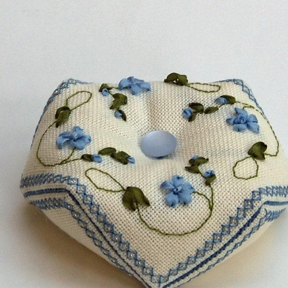 Items similar to periwinkle biscornu pattern silk