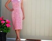 HUGE SALE 1950's Vintage Pink Floral Embroidered Linen Wiggle Dress- Square Boat Neckline-Nipped Waist.