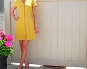 1960s-70 Vintage Donna Ricco Designer Mini Shift Dress-Tweed Marigold Yellow-V Neck- Button front- Pockets-