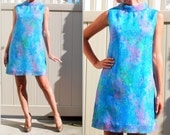 HUGE SALE Summer Sale Classic 1960s Chiffon Watercolor Mini Shift dress, done in the perfect pallet of blues purples and green