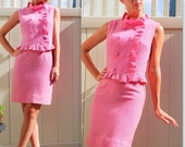 Summer Sale Iconic Pretty in Pink Vintage 1960s Two Piece Dress so Jackie Kennedy