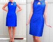 1960s Silk Cobalt Blue Madmen Wiggle with muted sequins and key hole neckline