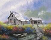 Alaska Wilderness 16X20 Oil Painting- Vickie Wade art, Alaska paintings, cabin paintings, boats, mountains, rustic, woods, river