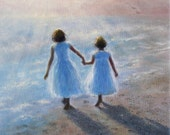 Imagine Two Beach Sisters Art Print, girls on beach paintings, children on beach, girls room wall art, Vickie Wade art