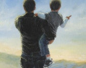 Father and Son Art Print, dad son boy paintings, kids decor, boys room art, carrying son, gift, childrens art, farmer,  Vickie Wade