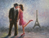 Paris Love Art Print Eiffel tower paintings Paris lovers, loving couple in Paris pink sexy romantic romance pink, Vickie Wade art