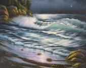 SALE Seascape 18X24 Original Oil Painting - Vickie Wade art, paintings, prints, ocean, moonlight, seascape, beach