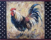 Rooster Oil Painting, 20 X 20, rooster paintings, kitchen art, rooster art, chicken paintings, kitchen art, Vickie Wade paintings