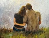 Tender Love Original Oil Painting 20 X 20, loving couples, lovers paintings, hugging, romantic, love paintings, love art
