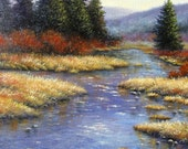 Amber Afternoon2 Original Oil Painting - Vickie Wade art , landscape, river paintings, wilderness paintings,