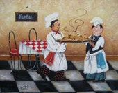 Pasta Chefs Art Print, fat chefs, chef paintings, prints, chef art, kitchen decor, cafe, paris, food, vegetables, bistro