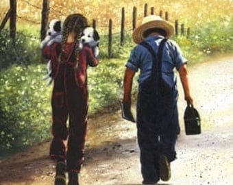Country Kids Art Print childrens wall art boy and girl paintings amish children and puppies, Vickie Wade art