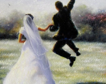 Bride Groom Art Print, wedding day, leaping groom, jumping groom, paintings, marriage, leaping, wedding couple, happy bride, Vickie Wade art