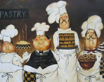 Four Pastry Chefs Art Print fat chef wall art funny chefs paintings brown kitchen art desserts, Vickie Wade Art