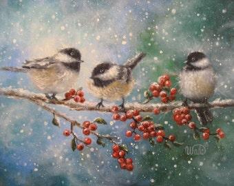 Three Chickadees Art Print bird paintings, winter birds, chickadee paintings, red berries, snow birds, three birds, Vickie Wade Art