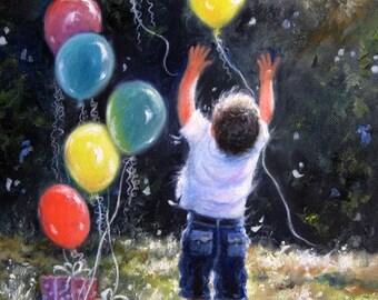 Birthday Boy Art Print little boy, balloons, celebrate, balloon paintings joyful boy, birthday art, happy wall decor, Vickie Wade Art