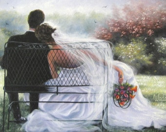 Bride Groom Art Print, wedding couple, just married, sitting bench, hugging art, marriage, paintings, prints, Vickie Wade art