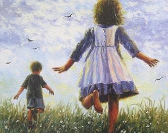 Running Children Art Print, kids wall art, summer, barefoot kids, boy, girl, happy kids art, brother, sister, Vickie Wade art