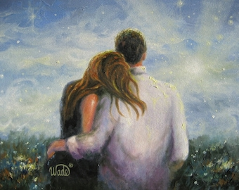 Loving Couple Art Print, lovers, romantic couple, couple in love, hugging, romantic art, anniversary paintings, wall art images, Vickie Wade