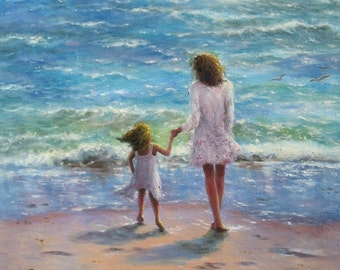 Mother Daughter Beach Art Print, beach girls paintings, children on beach, beach art, beach wall art, aqua, beach girl, mom, Vickie Wade Art