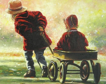 Two Sisters Art Print, two girls playing, wagon ride, big sister little sister, burgundy wall decor, sister paintings, Vickie Wade Art