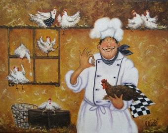 Chicken Chef Art Print fat chefs chef art kitchen wall art egg farmer, funny, roosters, chicken coop, whimsical