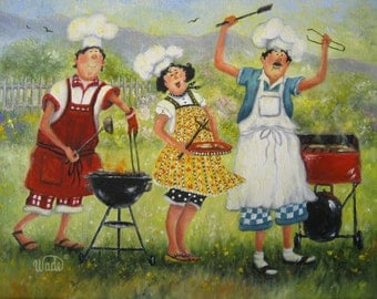 BBQ Chefs Art Print, fat chefs, chef paintings, chef art, barbeque chefs, kitchen art, lady chef, Vickie Wade art, paintings