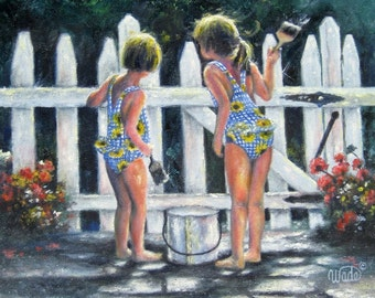 Summer Sisters Art Print two girls painting picket fence, Vickie Wade art, two sisters, two girls, girlfriends