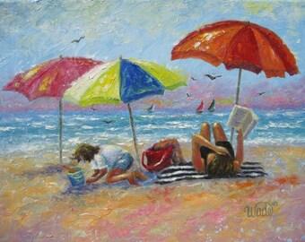 At the Beach Art Print, mother and daughter, beach girls, beach decor, beach painting, beach umbrellas, Vickie Wade art