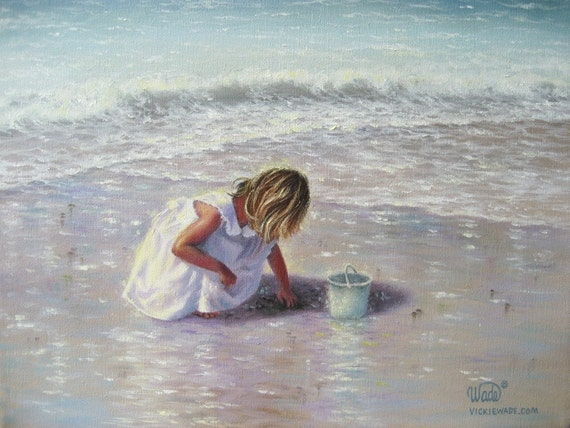 Finding Sea Glass large matted print of little blonde girl at the beach