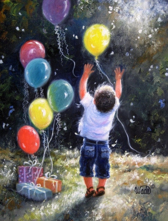 birthday boy art print little boy balloons celebrate