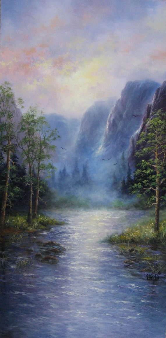 Mountains 18X36 XL Original Oil Painting  Vickie Wade art, paintings, prints, mountains, lake, forest, landscape
