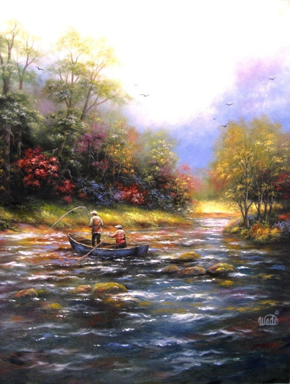 RESERVED for Nydia River Fishing Original Oil Painting, fishing wall art, paintings, fishermen, Vickie Wade art