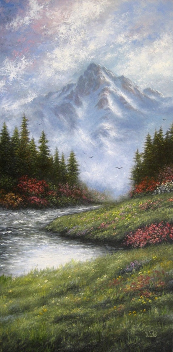 Mountain painting  XL18X36 Original Oil Painting, river, landscape, wilderness, majestic mountains