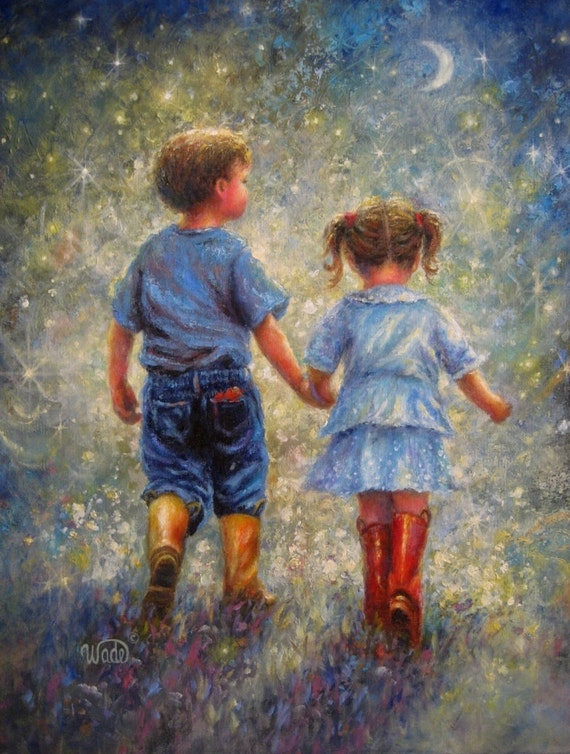 Twilight Walk Print Vickie Wade Art Boy And Girl Romance