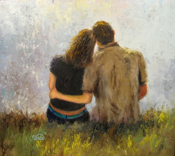 Tender Love Original Oil Painting 20 X 20 Loving Couples