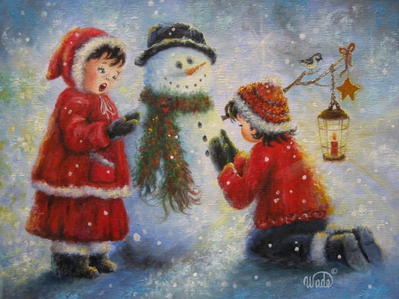 Snowman And Two Girls Art Print Snowman Paintings Two Snow