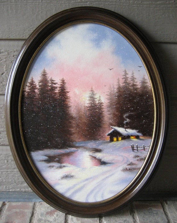 All is Calm OVAL framed Original Oil Painting - Vickie Wade art, paintings, prints, cabin,snow, snow landscape, winter landscape