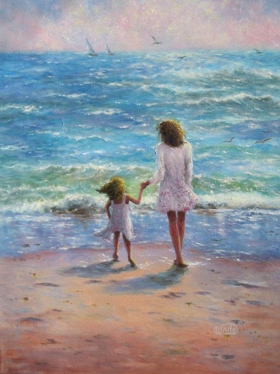 Mother Daughter Beach Art Print, beach girls paintings, children on beach, beach art, beach wall art, aqua, Vickie Wade Art