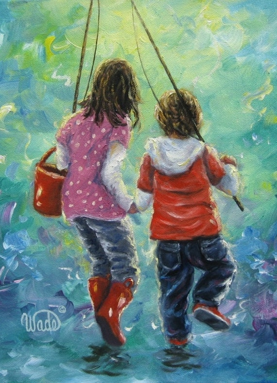 Fishing With Sister Art Print Kids Fishing Two Sisters