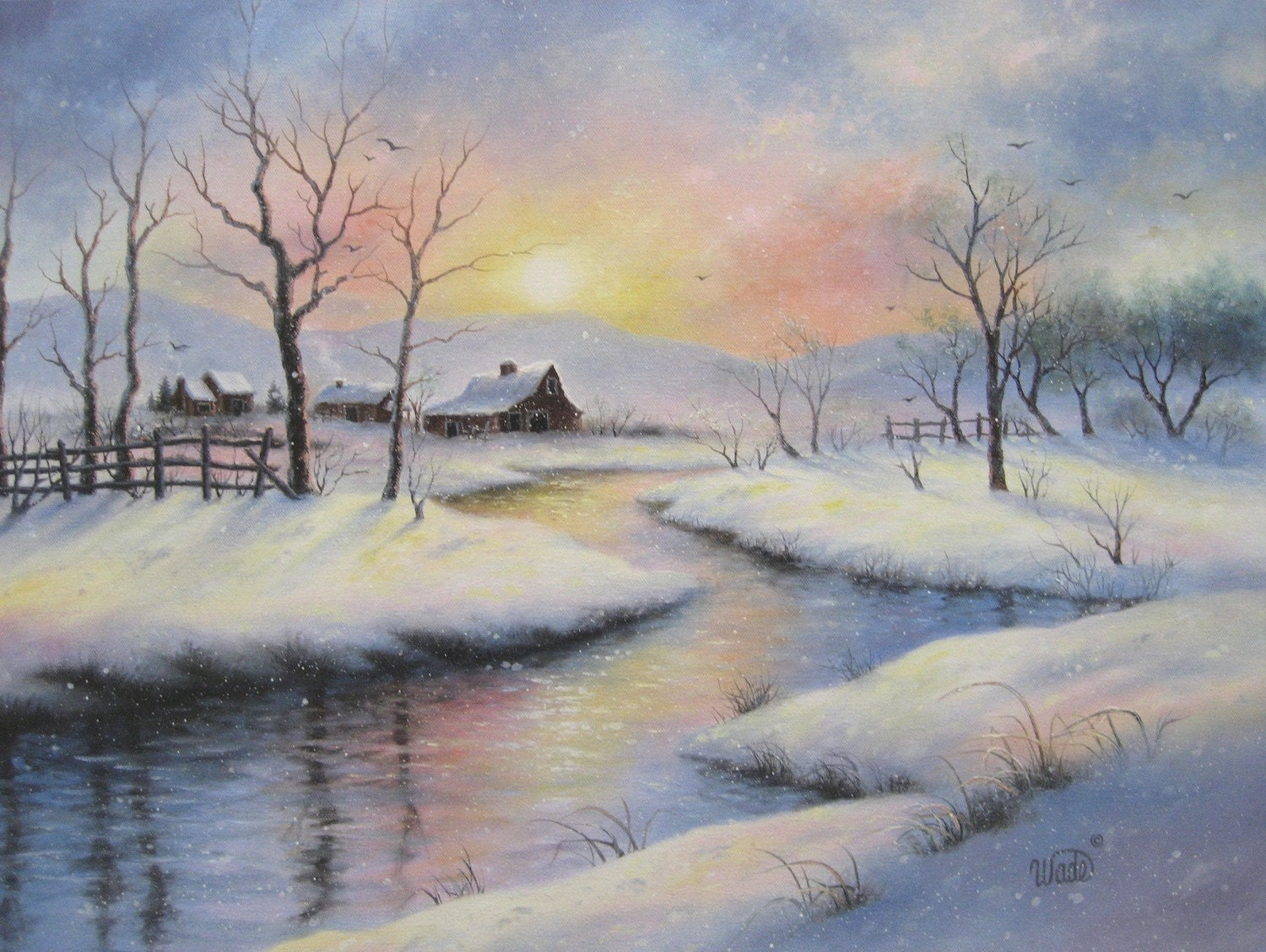 peaceful winter 18x24 original oil painting barns country. Black Bedroom Furniture Sets. Home Design Ideas