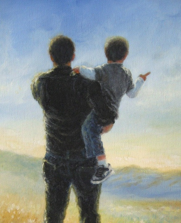 Father And Son Art Print Dad Son Boy By Vickiewadefineart