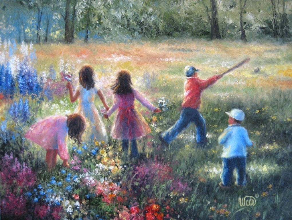 Vickie wade original oil painting children playing outdoors for Oil painting for kids
