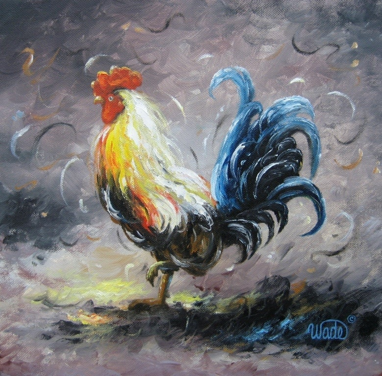 Rooster Original Oil Painting Vickie Wade Art Rooster