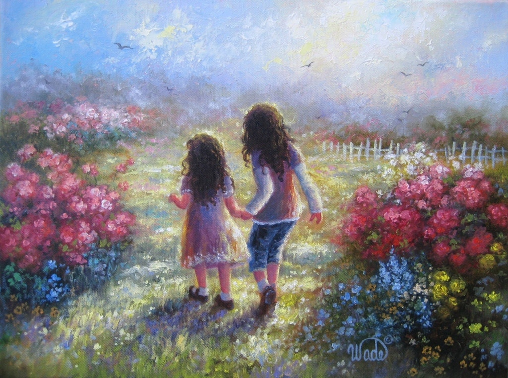 Garden sisters art print from oil painting by Sisters garden